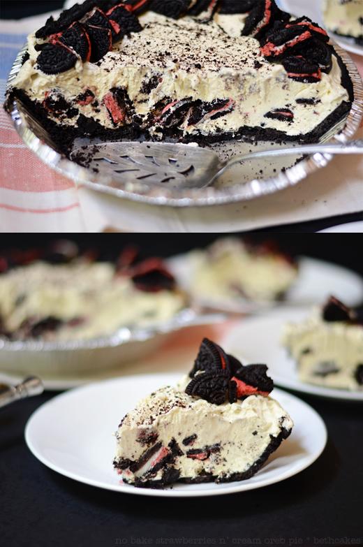 No Bake Strawberries n' Cream Oreo Pie
