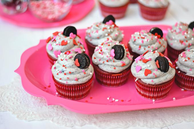 Pink Velvet Oreo Surprise Cupcakes