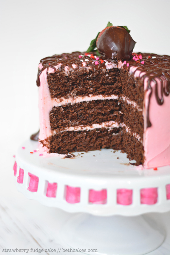 Strawberry Fudge Cake: rich chocolate cake, creamy strawberry frosting, and lots of chocolate ganache. bethcakes.com #valentinesday