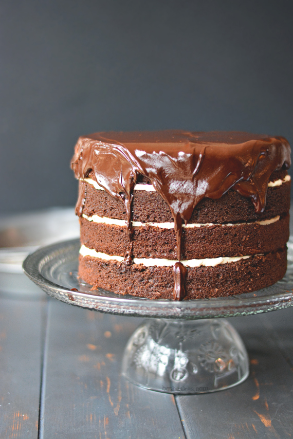 Irish Car Bomb Cake - four layers of Chocolate Guinness Cake with Bailey's Irish Cream Frosting and thick whiskey ganache. [bethcakes.com]