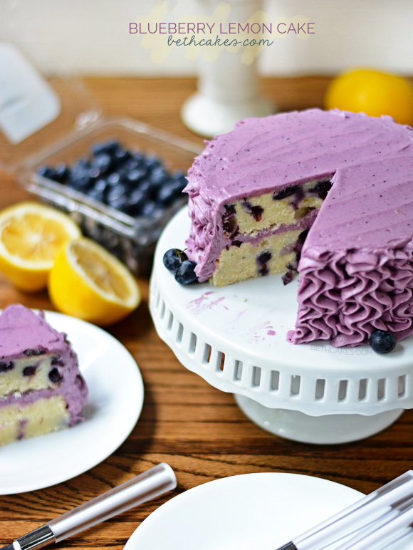 Blueberry Lemon Cake with the best blueberry frosting! - bethcakes.com @bethcakesblog