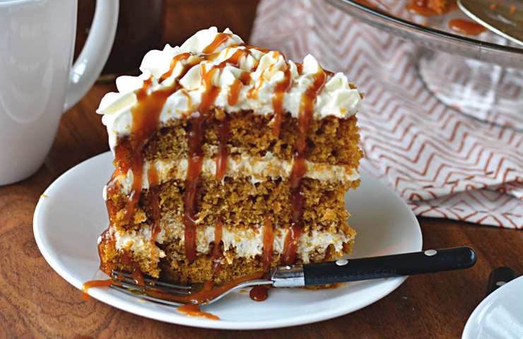 PSL Cake with Spiced Buttercream, Whipped Cream, and Kahlua Caramel Sauce