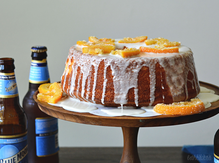 Orange Chiffon Cake with Blue Moon Glaze and Beer Candied Orange Slices