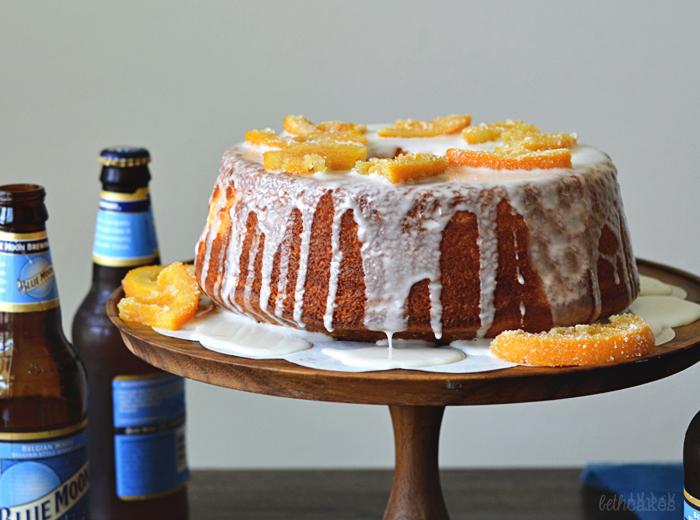 Orange Chiffon Cake with Blue Moon Glaze and Beer Candied Orange Slices