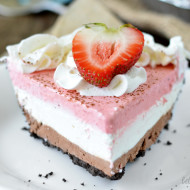 No-Bake Neapolitan Cheesecake
