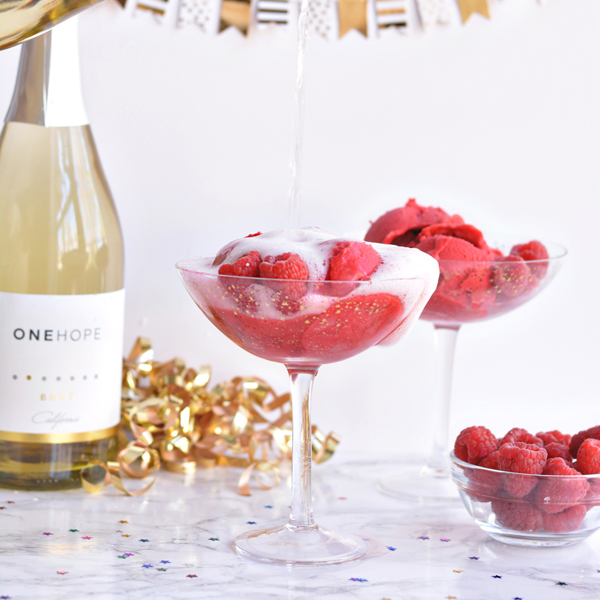 Raspberry Champagne Floats