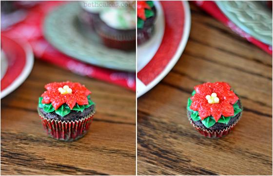 Poinsettia Cupcakes & tutorial - bethcakes.com