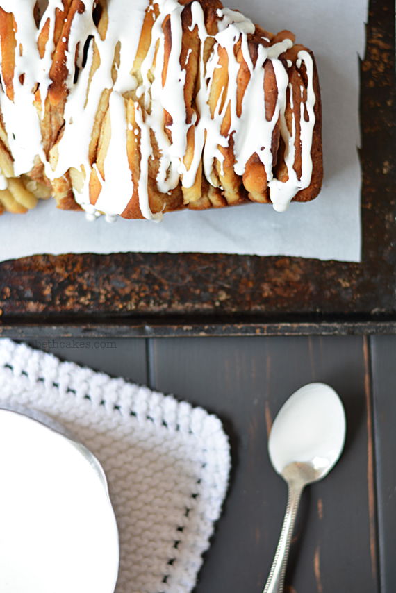 S'mores Pull-Apart Bread with Toasted Marshmallow Drizzle! bethcakes.com