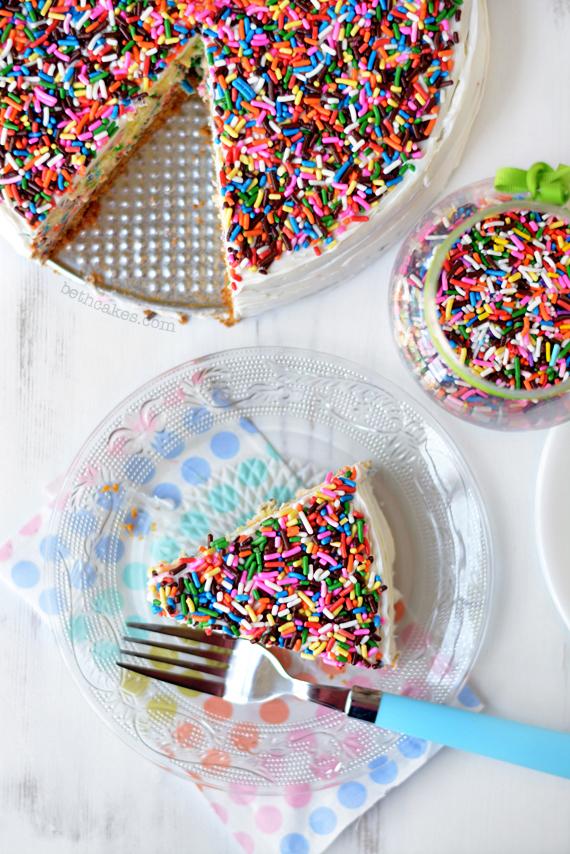 Super creamy Funfetti Cheesecake! bethcakes.com