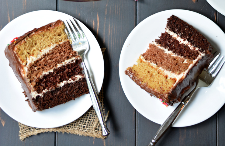 Chocolate Peanut Butter Ombre Cake