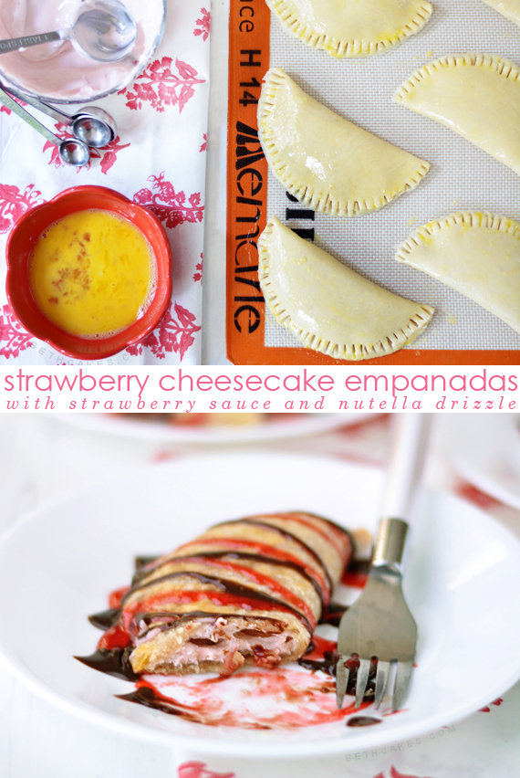 Strawberry Cheesecake Empanadas with Nutella Drizzle! bethcakes.com