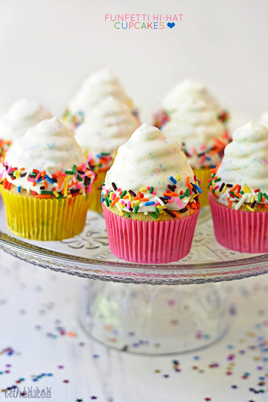 Funfetti Hi-Hat Cupcakes! bethcakes.com