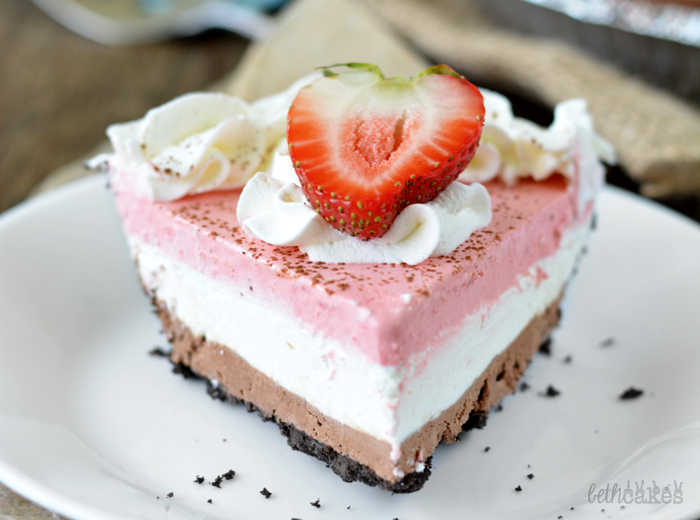 No-Bake Neapolitan Cheesecake