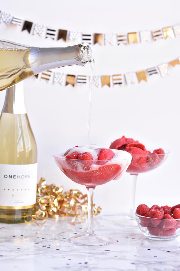 Raspberry Champagne Floats