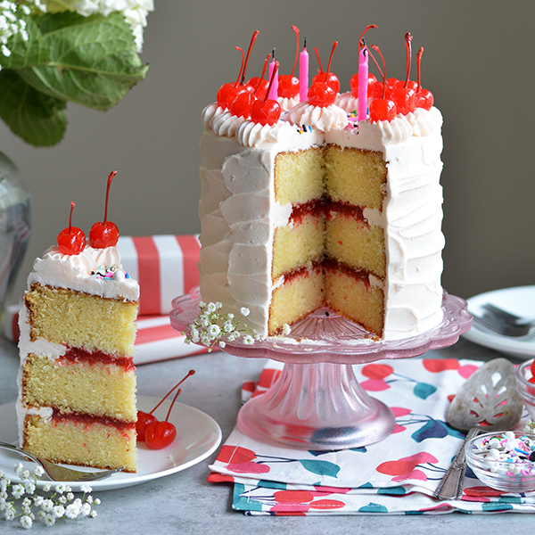 Cherry Birthday Cake with Cherry Filling