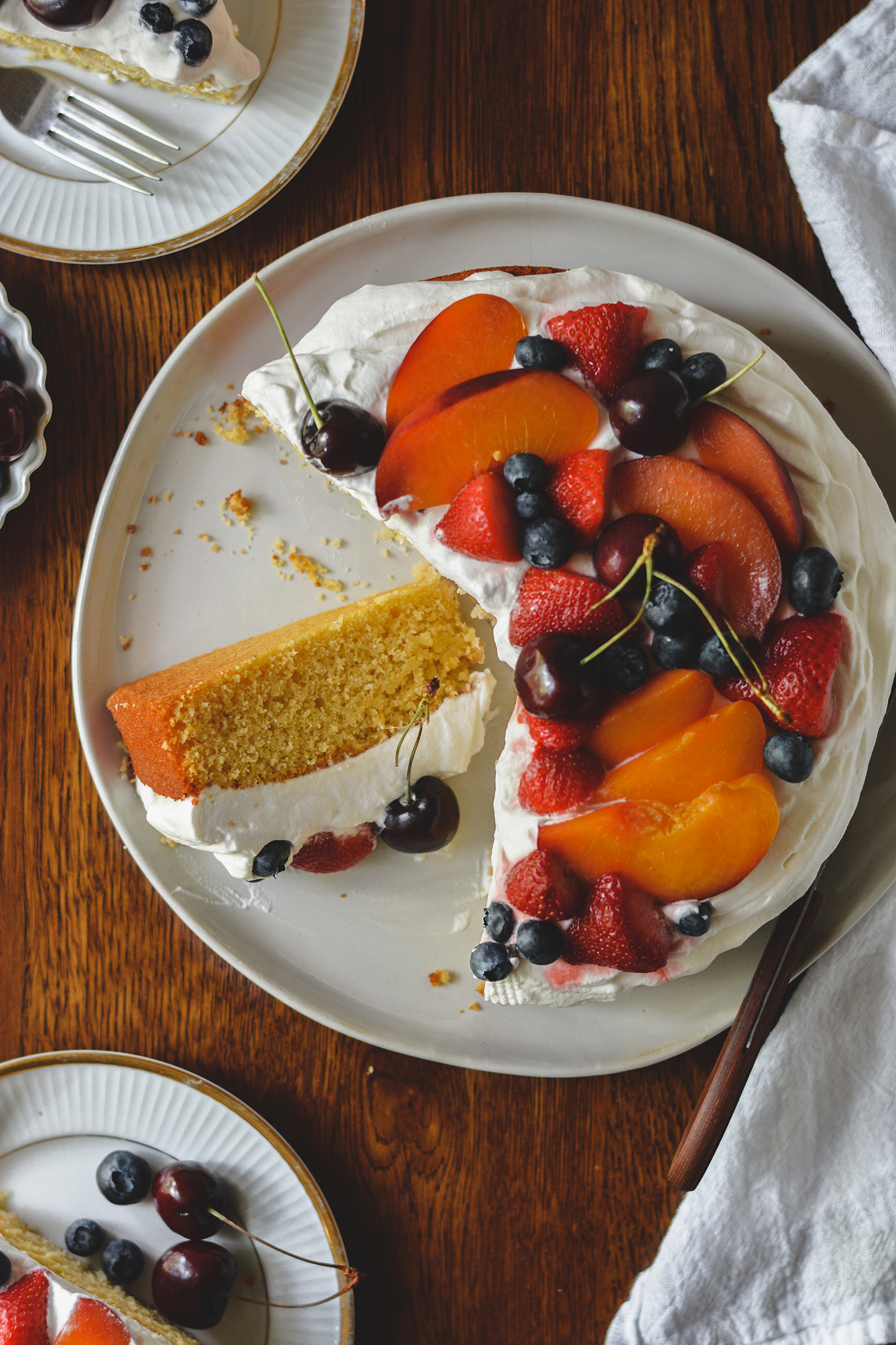 summer cornbread cake with honey whipped cream - bethcakes.com
