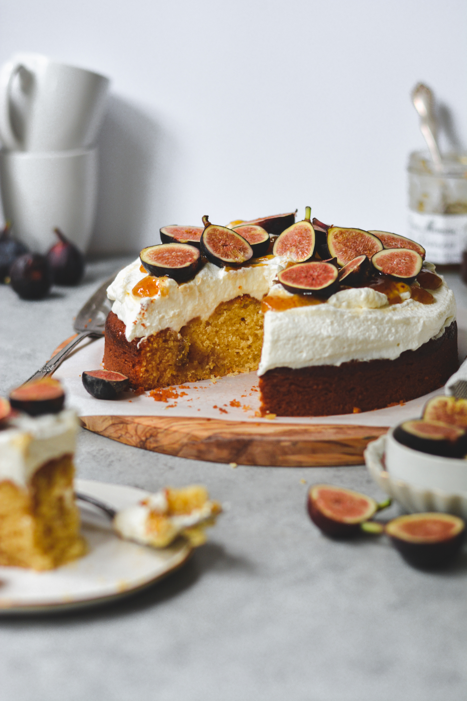 Ricotta Cake with Fig Jam and Honey Whipped Cream