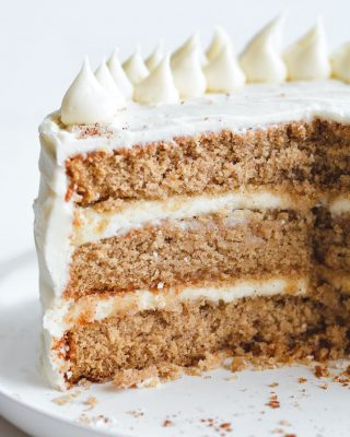 maple spice cake with cream cheese frosting! this is one of my all time favorites for fall and the holidays. super soft cake, just a hint of maple, warm apple pie spices. link is in the bio, y'all 💓     https://bethcakes.com/maple-spice-cake-with-cream-cheese-frosting/