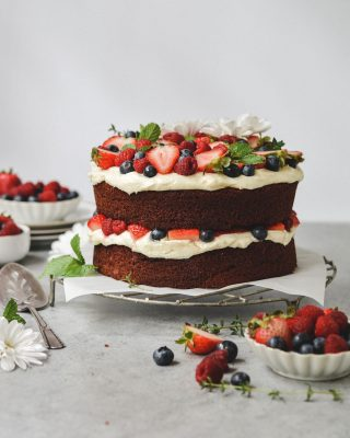 originally made this red velvet berries & cream cake for memorial day but it would also be perfect for july 4th! the light cocoa flavor goes so well with pretty much all berries and it's naturally super festive 🎉🎉 grab the recipe at the link in my bio!         https://bethcakes.com/red-velvet-berries-and-cream-cake/