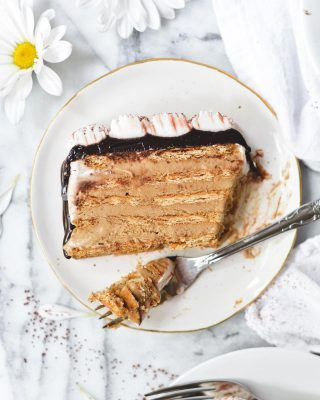 100000 degrees outside means we could all use some icebox cake! especially when it's coffee flavored 😍😍 in the blog post, i've got some info on how to make the filling with a pudding mix if you don't feel like making a homemade custard and want the completely no-cook method! icebox opera cake recipe link in bio! 💓      https://bethcakes.com/icebox-opera-cake/