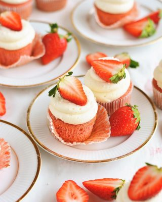 ✨ new! ✨ fresh strawberry cupcakes with cream cheese frosting are on the blog today! perf for spring and all kinds of occasions! 🍓 recipe link in bio! #nationalstrawberryday