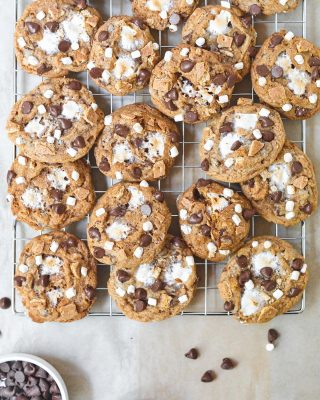 the ULTIMATE s'mores cookies are new on the blog today!! because it's summer and i'm obsessed with s'mores anything all year round anyway. these cookies are stuffed with chocolate chips, two kinds of marshmallows, and graham crumbs with some extra grahams on top. brb drooling! 😛 recipe link in bio, friends! ❤️        https://bethcakes.com/the-ultimate-smores-cookies/