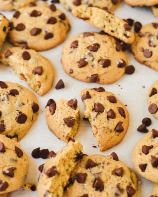 cookies for your weekend! always a good idea to have some cookie dough in the freezer for friday night midnight snacking 😌 these are my fave thick and soft cookie base with PLENTY of chocolate chips, a dash of maple extract in the dough, and a sprinkle of sea salt on top 🙌 recipe link in bio, friends!         https://bethcakes.com/salted-maple-chocolate-chip-cookies/