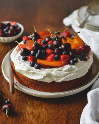 super easy and low maintenance cake for your weekend baking! cornmeal cake with honey whipped cream & all the summer fruits and berries. i used a combo of cornmeal and all-purpose flour here so it's like sweet cornbread but softer and cake-like! you can top it with literally any of your fave fruits/berries and i feel like it's acceptable for breakfast??? recipe link in bio!       https://bethcakes.com/summer-cornbread-cake-with-honey-whipped-cream/