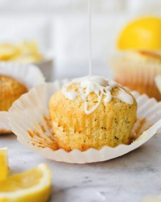small batch lemon poppy seed muffins are weekend ready and so easy to whip up! glaze is optional but you might as well 🤷♀️ recipe link in bio! 💛        https://bethcakes.com/small-batch-lemon-poppy-seed-muffins/