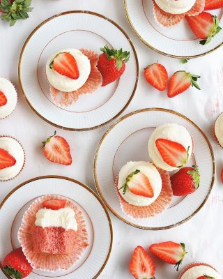 tis the season for strawberries! fresh strawberry cupcakes with cream cheese frosting are a family favorite (can be made in two 8-inch cake pans) and are perfect for this time of the year. i've made this recipe for so many birthdays and baby showers! recipe link in bio 🍓🍓