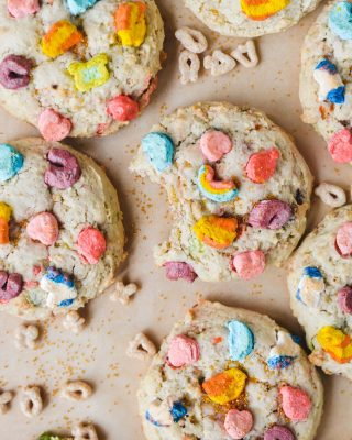 happy st. patrick's day, friends! 🍀 these festive lucky charms cookies just hit the blog! used my favorite thick and soft cookie base recipe 😌 they're so easy and you don't have to refrigerate the dough so you can whip them up and be enjoying them in no time! recipe link in bio! 🌈🍪